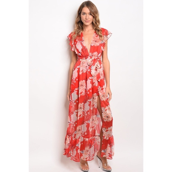 Dresses & Skirts - Red Floral Maxi Dress